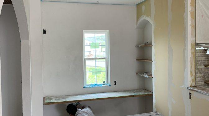 漆喰塗壁始まりました